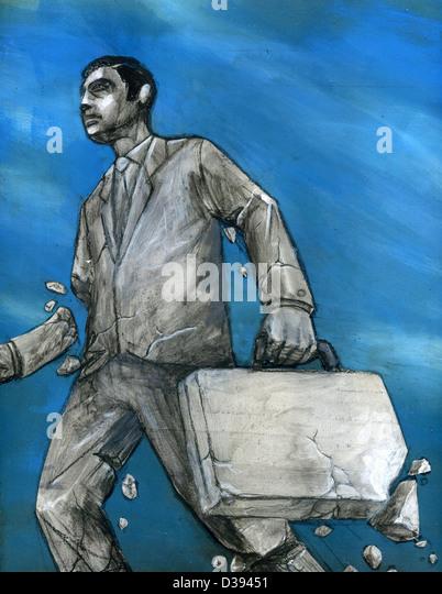 Das Konzept der Business Aufschlüsselung abbildende Geschäftsmann Stockbild