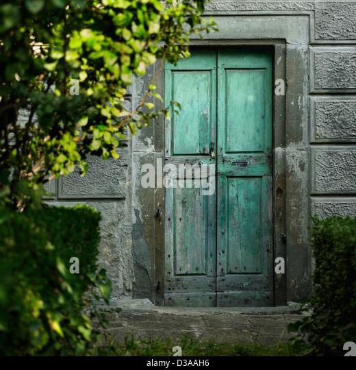 Alte Türen in Betonwand Stockbild