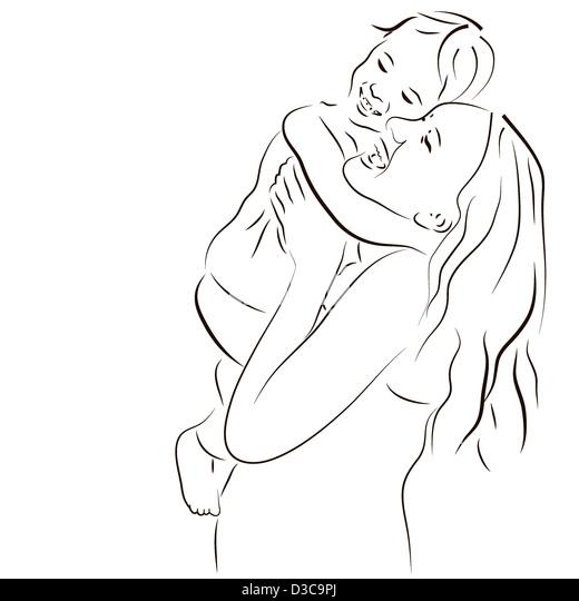 Hand gezeichnete Silhouette der Mutter und ein baby Stockbild