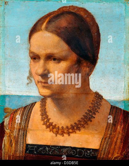 Albrecht Dürer, Bildniss eines venezianischen Frau 1507 Öl auf Holz. Staatlichen Museen zu Berlin Stockbild