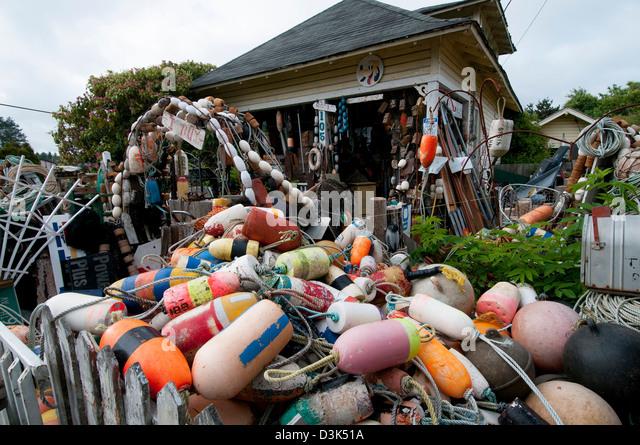 alten Angelausrüstung im Junk-e-Shop; Long Beach; Long Beach Halbinsel; US-Bundesstaat Washington Stockbild