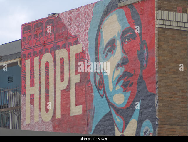 Shepard Fairey Barack Obama hoffen Wandbild am Hollywood Boulevard in Los Angeles Kalifornien Stockbild
