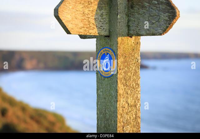 Küste Weg Zeichen Stockbild