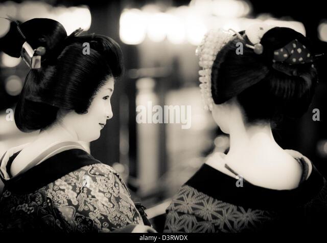Geishas auf den Straßen von Kyoto, Japan Stockbild