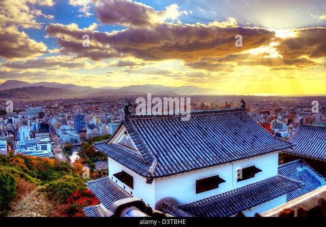 Matsuyama Schloss und Matsuyama Stadtbild am Nachmittag. Stockbild