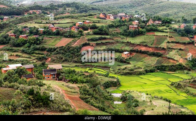 Häuser-Hochland-Madagaskar-Afrika Stockbild