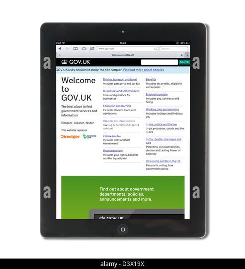 Die UK Regierung Services Website Gov.UK betrachtet auf einem Retina Display iPad Stockbild
