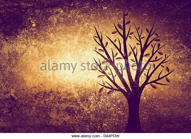Baum auf strukturierten Hintergrund Stockbild