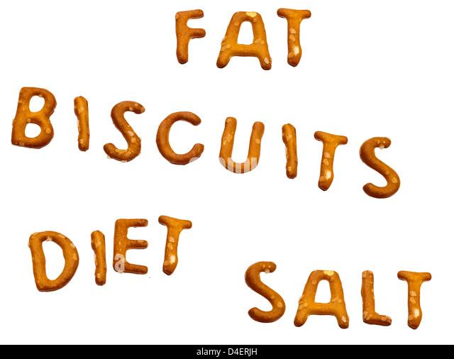 Ungesunde Ernährung Wörter in Sal; Ty Snack Kekse Stockbild