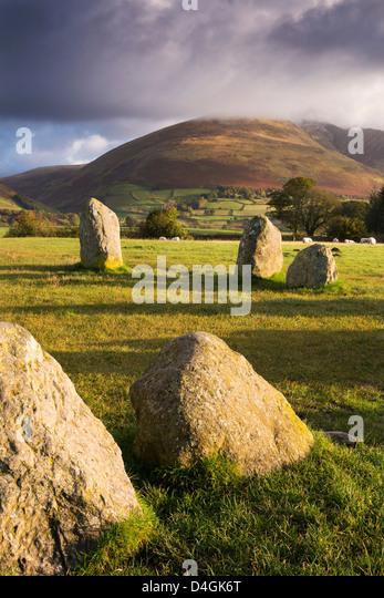 Castlerigg Stone Circle in der Lake District National Park, Cumbria, England. Herbst (Oktober) 2012. Stockbild