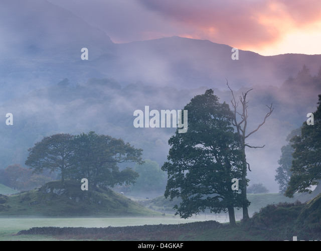 Atmosphärische nebeligen Sonnenuntergang in der Nähe von Elterwater, Lake District, Cumbria, England. Stockbild