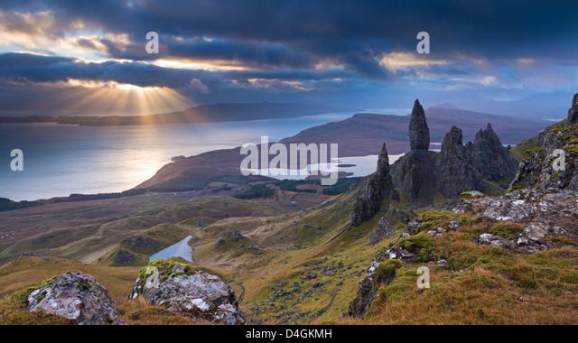 Old Man of Storr, Isle Of Skye, Schottland. Herbst (November) 2012. Stockbild