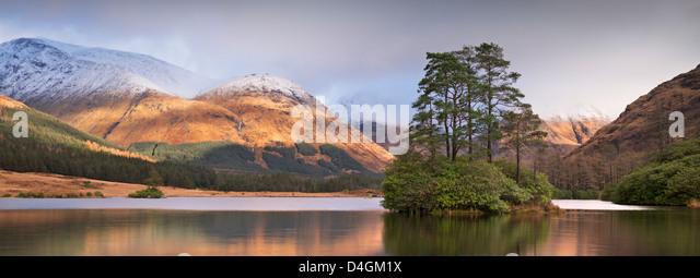 Insel man Urr in Glen Etive, Schottland. Winter (November) 2012. Stockbild