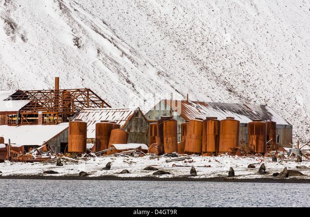 Die verlassenen norwegischen Whaling Station Stromness Bay, Südgeorgien, Süd-Atlantik, Polarregionen Stockbild