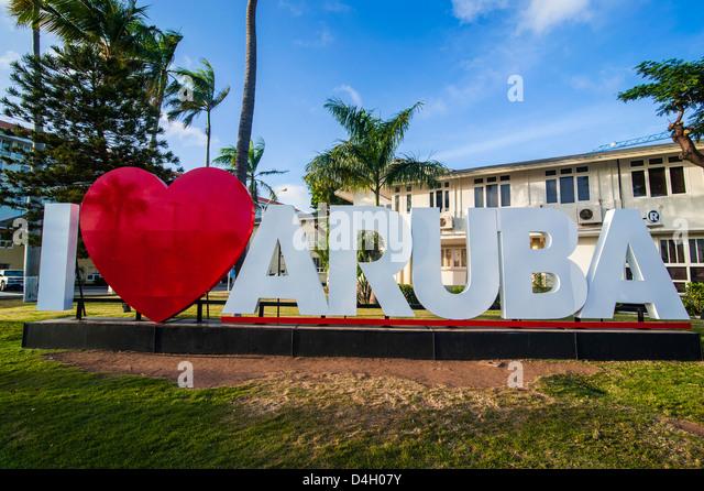 Ich liebe Aruba Zeichen in der Innenstadt von Oranjestad, Hauptstadt von Aruba, ABC-Inseln, Niederländische Stockbild