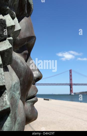 Denkmal für Fado, Amalia Rodrigues und Lissabon, durch den 25 Abril, Stadtteil Belem, Lissabon, Portugal Stockbild