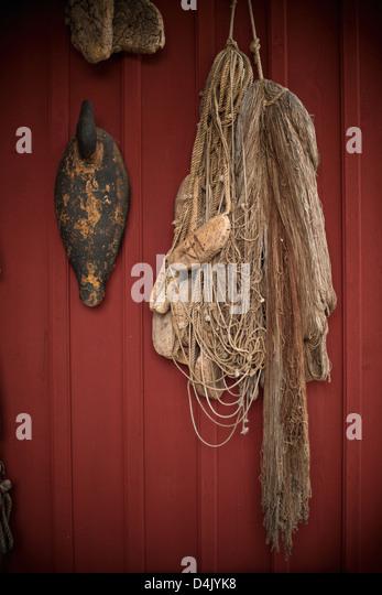 Angeln net hängen aus der Wand Stockbild