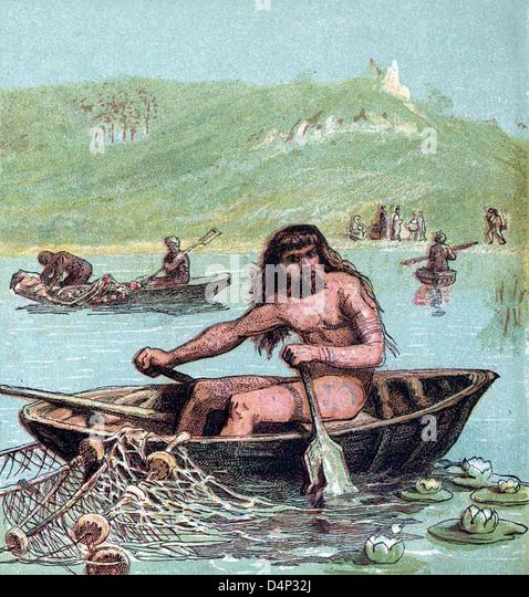 Alten Briten in ihren Booten Angeln Stockbild