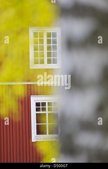 Bauernhaus-Fenster in Munkfors, Värmland, Schweden, Europa Stockbild