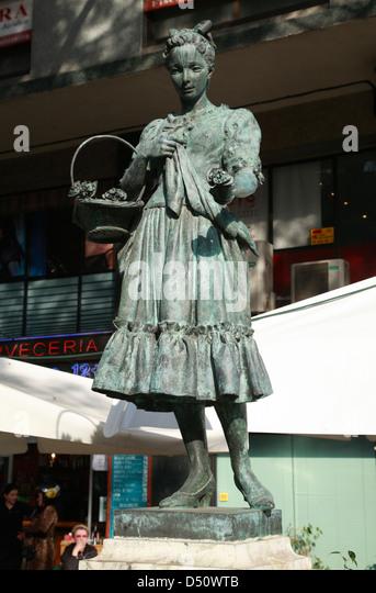 Statue der Schauspielerin Raquell Meller in El Raval, Barcelona, Spanien Stockbild