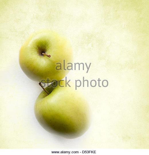 Grüne Äpfel mit Textfreiraum Stockbild