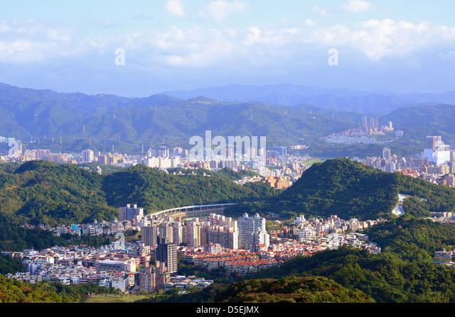 Wohngebiet Hochhäuser und Wohnblocks in Neihu District, Taipei, Taiwan. Stockbild