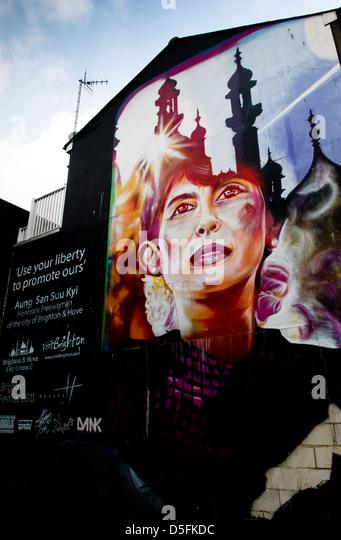 Brighton Streetart zur Unterstützung Aung San Suu Kyi von Myanmar Stockbild