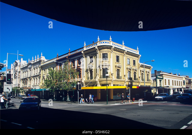 Australien, Tasmanien, Launceston, viktorianischen Straßenbild in der George Street / Brisbane Street, The Stockbild