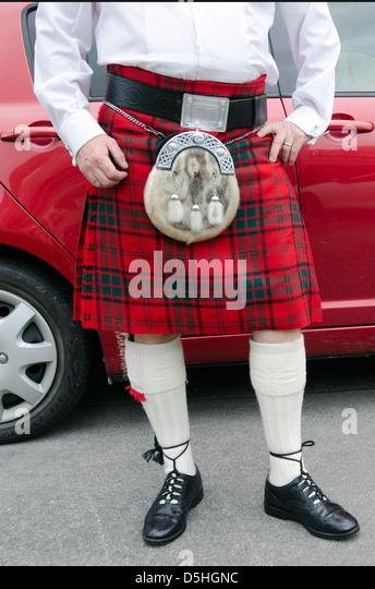 Schotte Kilt tragen Stockbild