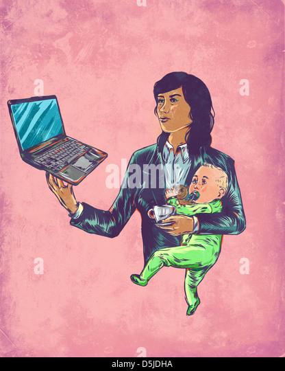 Anschaulichen Bild der Geschäftsfrau Baby zu tragen, während mit Laptop für Multitasking Stockbild
