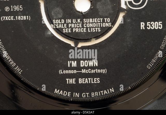 Beatles I 'm Down 7' einzigen Plattenlabel Stockbild