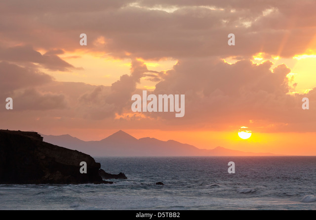 Blick von der Playa De La Pared in Radium Halbinsel Jandia, La Pared, Fuerteventura, Kanarische Inseln, Spanien Stockbild