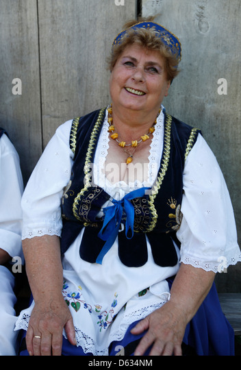 Traditionelle kaschubische Musik Gruppe am folk Museum unter freiem Himmel Stolper (Klucken), Slowinski-Nationalpark, Stockbild