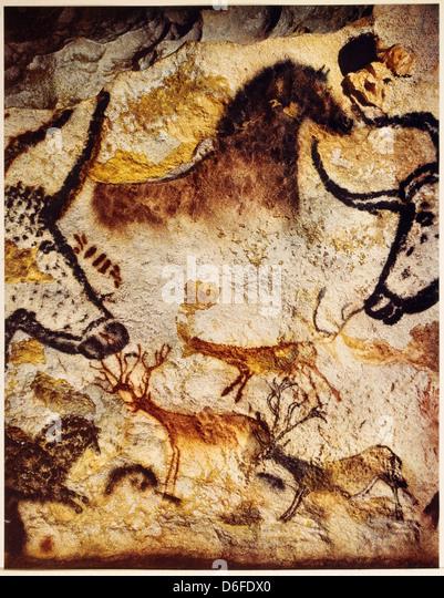 Höhlenmalereien von verschiedenen Tieren, Lescaux, Frankreich Stockbild