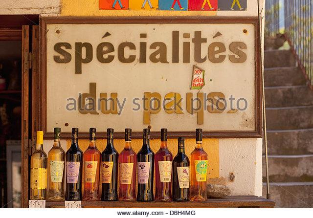 Traditionelles Cosican Essen trinken Corte Korsika Frankreich anzeigen Stockbild