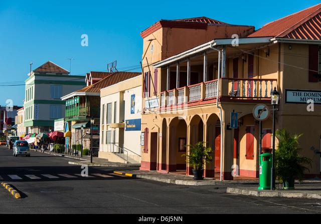 Die Innenstadt von Roseau-Hauptstadt von Dominica, West Indies, Karibik, Mittelamerika Stockbild
