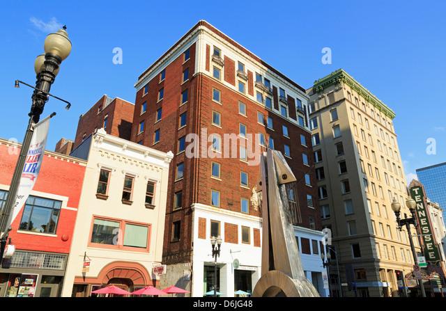 Gay Street, Knoxville, Tennessee, Vereinigte Staaten von Amerika, Nordamerika Stockbild