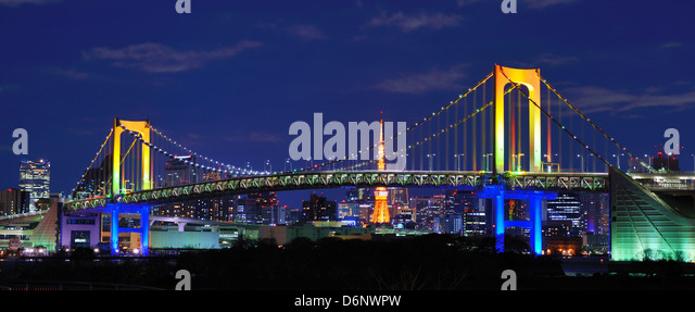 Regenbogenbrücke in Tokio, Japan Stockbild