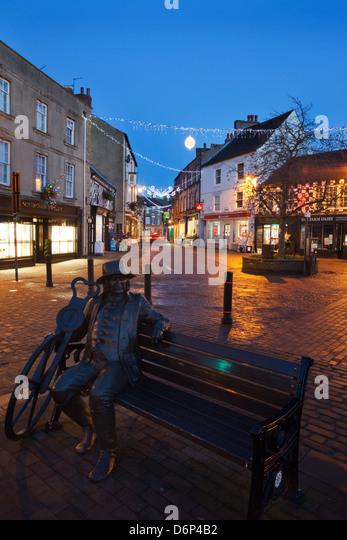 Blind Jack Statue an Weihnachten, Knaresborough, North Yorkshire, Yorkshire, England, Vereinigtes Königreich, Stockbild