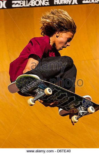 Professionelle Skateboard Wettbewerbe im Beach Bowl während der Australian Open of Surfing am Manly Beach, Stockbild