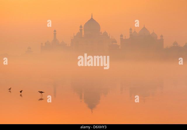 Skyline von Taj Mahal, Agra, Uttar Pradesh, Indien Stockbild