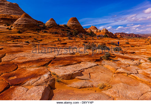 Wandern in die Sandstein-Felsformationen der Coyote Buttes North, Paria Canyon-Vermillion Cliffs Wilderness Area, Stockbild