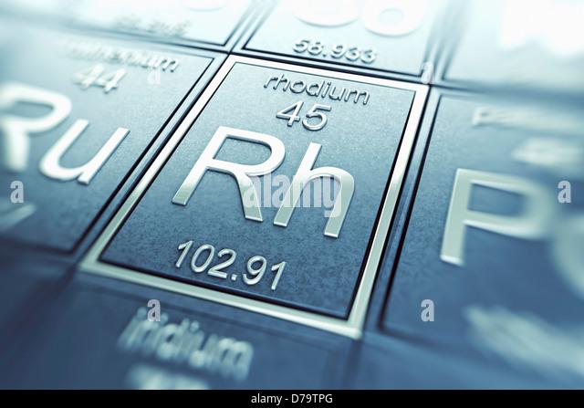 Rhodium chemisches Element) Stockbild
