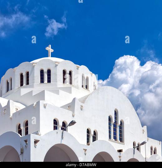 Die orthodoxe Kathedrale in der Hauptstadt Fira auf der griechischen Insel Santorin gelegen. Stockbild