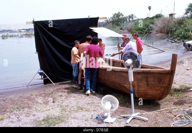 Produktion eines Films an den Ufern des See Genezareth Stockbild