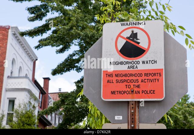 Neighborhood Watch Warnschild Stockbild
