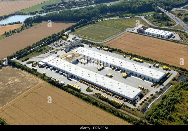 Mail-Verteiler aufzubauen, Deutsche Post, Hannover, Niedersachsen, Deutschland Stockbild