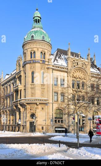 Winter und Schnee Winter, Deutsche Bankgebäude Hannover Niedersachsen, Deutschland Stockbild