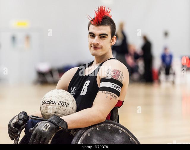 David Anthony GBWR-Rollstuhl-Rugby-Spieler, Team GB, Paralympics, London 2012 Stockbild