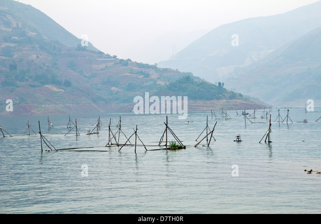 Angeln am Fluss Yangtze, China Stockbild